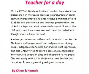 Teacher for a day by Chloe & Hannah